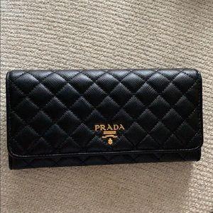 Prada Quilt Soft Calf Long Foldover Wallet